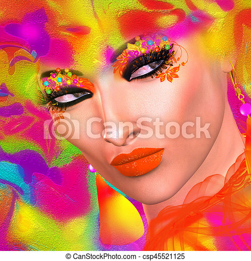 Face of beautiful woman in colorful 3d render. - csp45521125