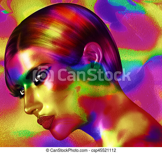 Face of beautiful woman in colorful 3d render. - csp45521112