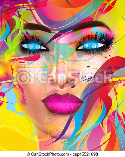 Face of beautiful woman in colorful 3d render. - csp45521098