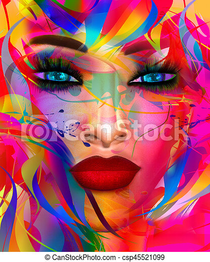 Face of beautiful woman in colorful 3d render. - csp45521099