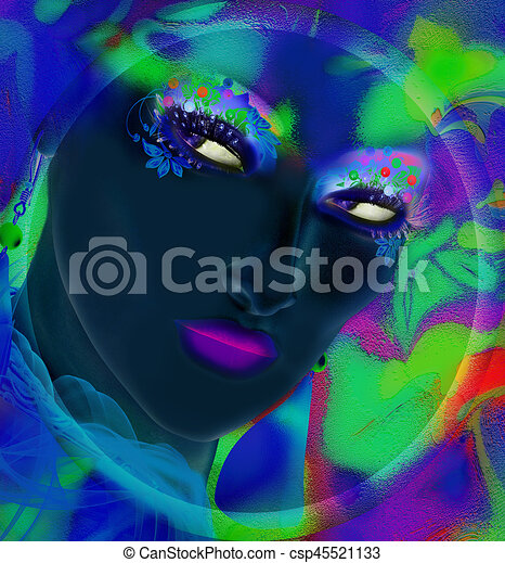 Face of beautiful woman in colorful 3d render. - csp45521133