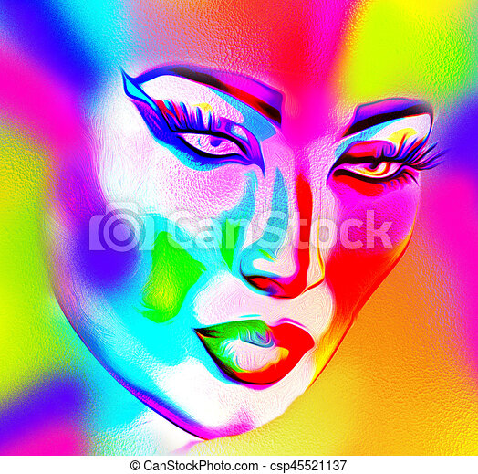 Face of beautiful woman in colorful 3d render. - csp45521137