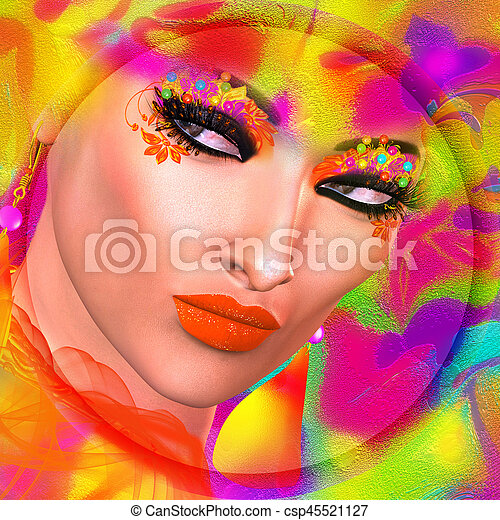 Face of beautiful woman in colorful 3d render. - csp45521127