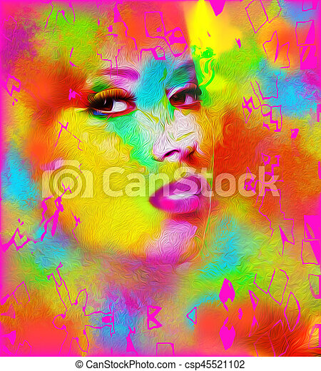 Face of beautiful woman in colorful 3d render. - csp45521102