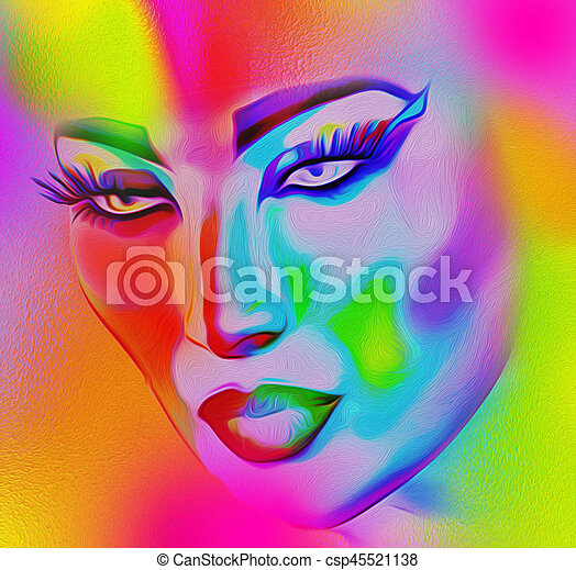 Face of beautiful woman in colorful 3d render. - csp45521138