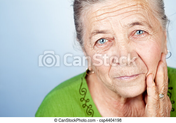 Face of content beautiful old senior woman - csp4404198
