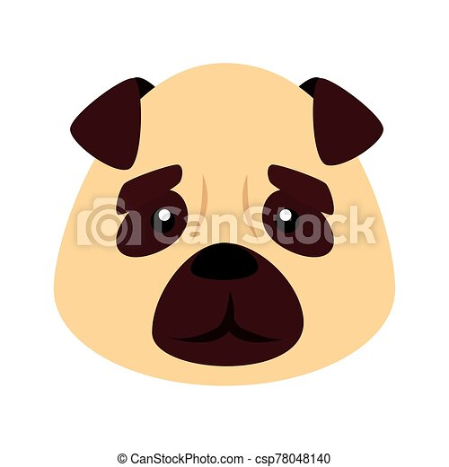 face of cute dog animal isolated icon - csp78048140