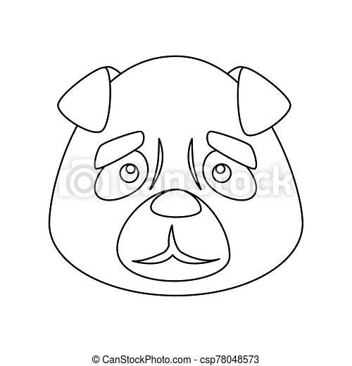 face of cute dog animal isolated icon - csp78048573