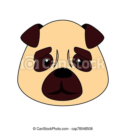 face of cute dog animal isolated icon - csp78048506