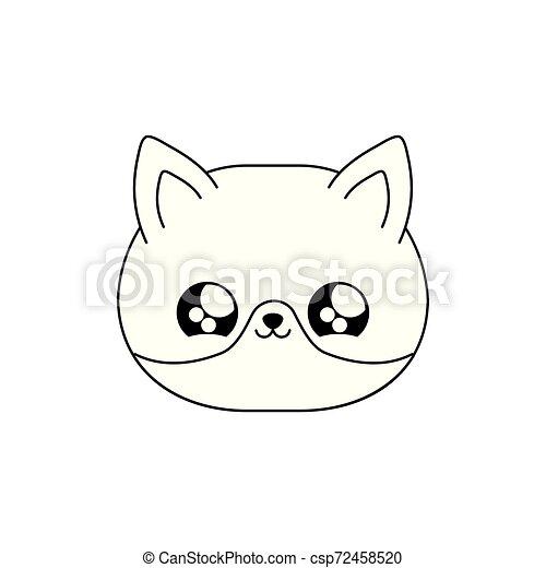 face of cute fox baby animal kawaii style - csp72458520