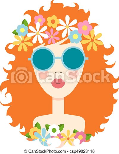 Face of cute girl with smile. Cartoon and flat style. Design element. White background. Vector illustration. - csp49023118