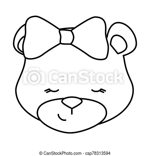 face of cute teddy bear female isolated icon - csp78313594