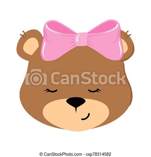 face of cute teddy bear female isolated icon - csp78314582