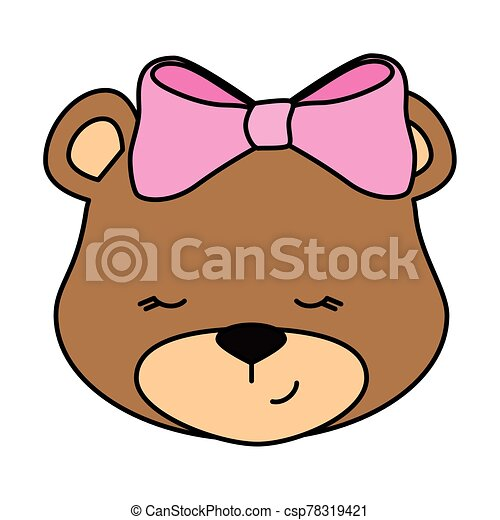 face of cute teddy bear female isolated icon - csp78319421