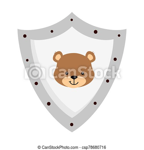 face of cute teddy bear in shield isolated icon - csp78680716