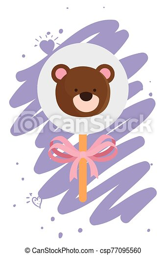 face of cute teddy bear in stick isolated icon - csp77095560