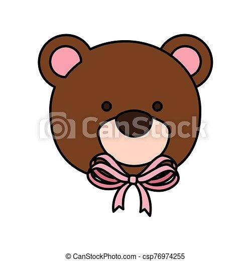 face of cute teddy bear isolated icon - csp76974255