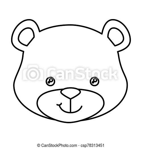 face of cute teddy bear isolated icon - csp78313451