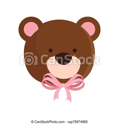face of cute teddy bear isolated icon - csp76974983