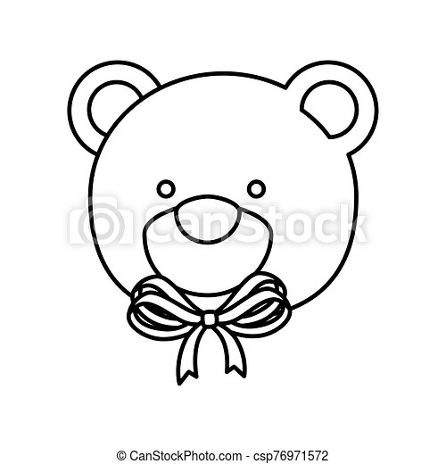 face of cute teddy bear isolated icon - csp76971572