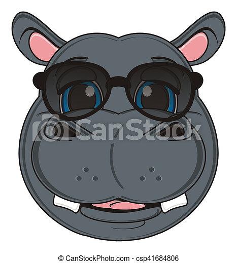 7f7393165339 Face of hippo in sunglasses. Smiling face of hippo in black sunglasses.