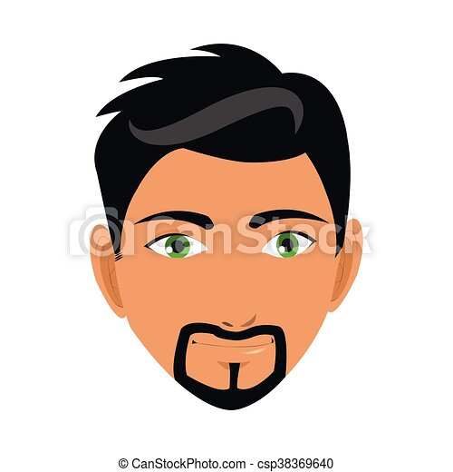 Flat Design Face Of Man With Beard Icon Vector Illustration