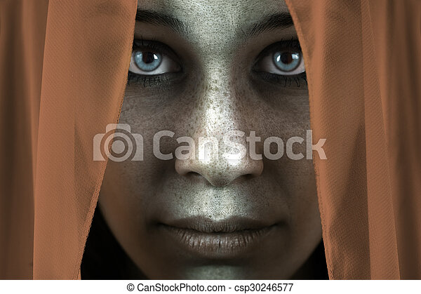 Face of shy freckled woman with beautiful big eyes - csp30246577