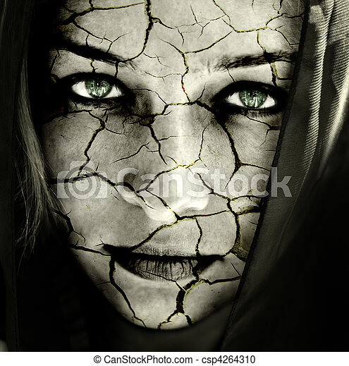 Face of woman with cracked skin - csp4264310