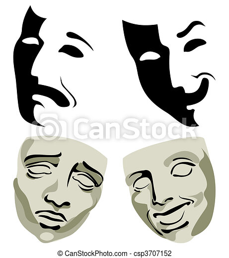 Face packs, pleasure and grief. A vector illustration - csp3707152