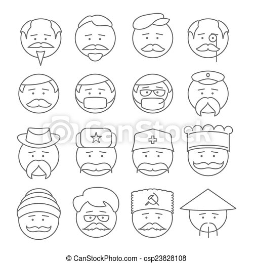 face people icons vector outline - csp23828108