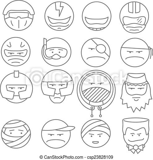 face people icons vector outline - csp23828109