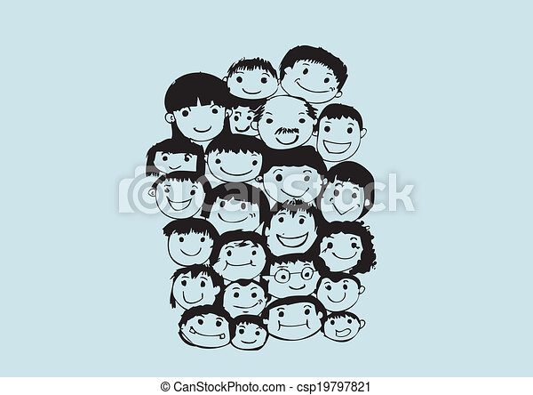 Face people sketch Crowd of funny peoples - csp19797821
