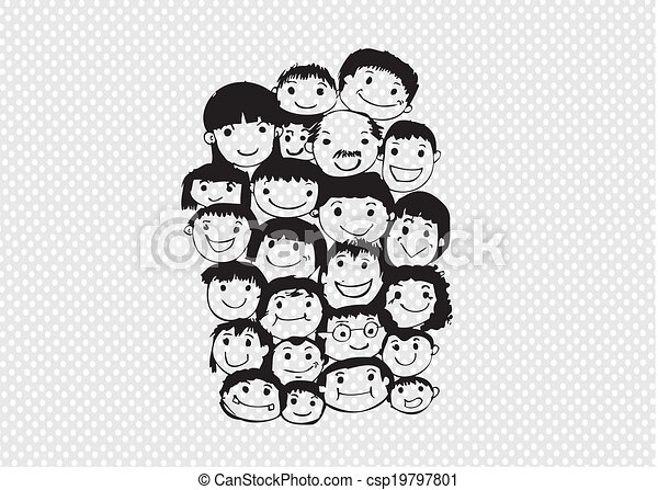 Face people sketch Crowd of funny peoples - csp19797801