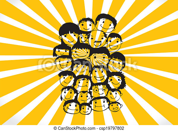 Face people sketch Crowd of funny peoples - csp19797802