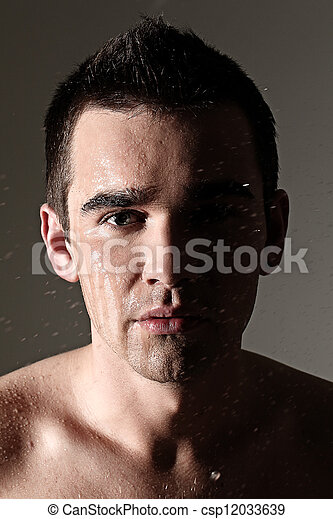 Face portrait of wet and handsome man - csp12033639