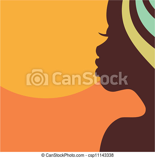 Face profile of African woman - csp11143338