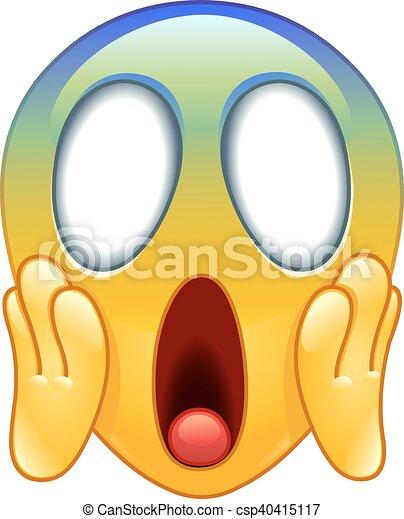 Face screaming in fear emoticon - csp40415117