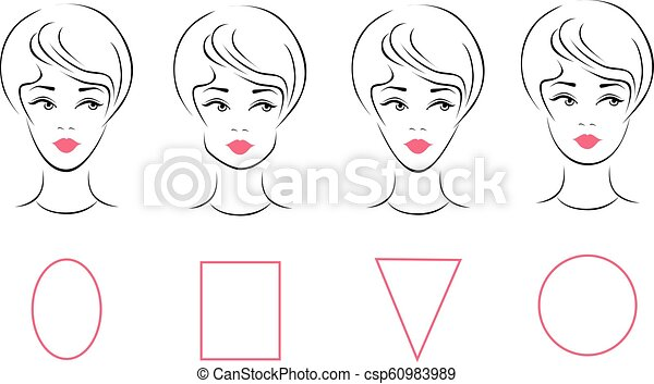 Terrific Vector Set Of Different Female Face Shape Types Oval Rectangle Schematic Wiring Diagrams Amerangerunnerswayorg