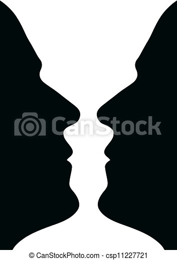 Face Wase Or Two Heads Or Vase Two Human Heads Or Vase
