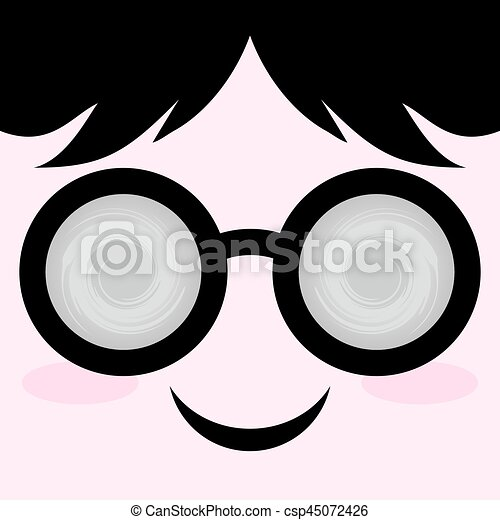 face with circle glasses - csp45072426