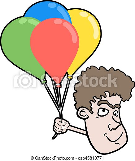 face with color balloons - csp45810771