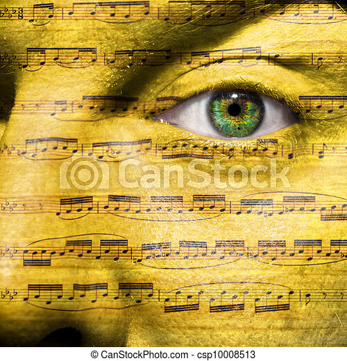 Face with eye showing sheet music - csp10008513