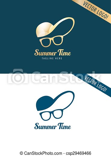Face with glasses and cap logo icon template. hipster, summer, man ...