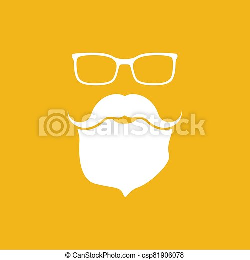 face with glasses, mustaches and beard - csp81906078