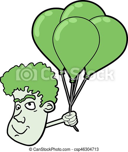 face with green balloons - csp46304713