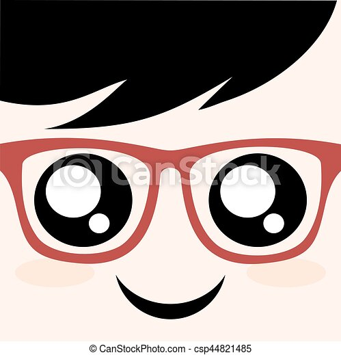 face with red glasses - csp44821485