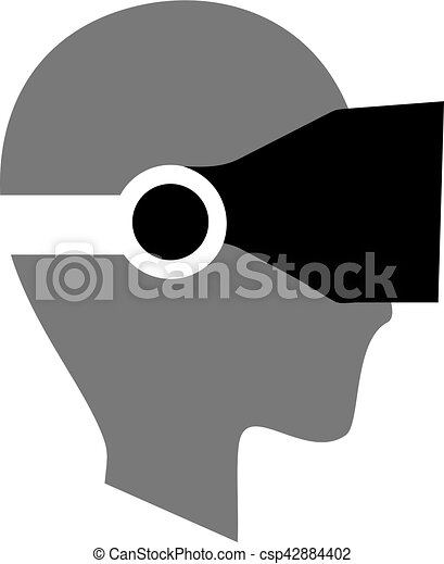 face with vr glasses icon - csp42884402
