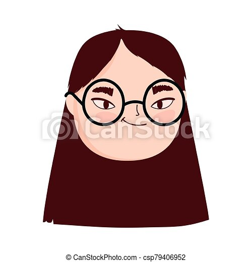 face young woman with glasses female character isolatd icon - csp79406952