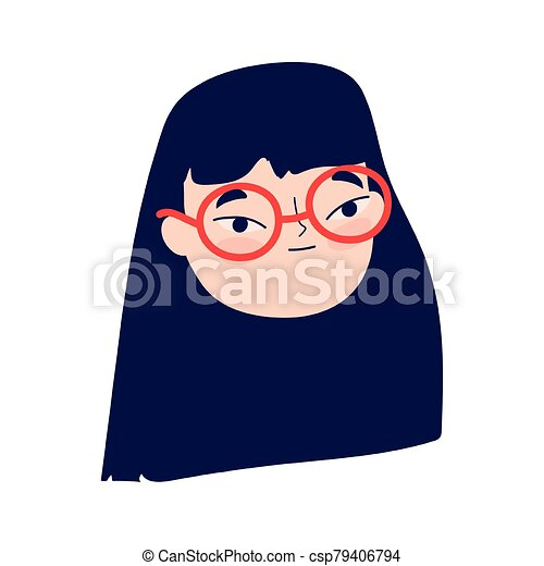 face young woman with glasses female character isolatd icon - csp79406794