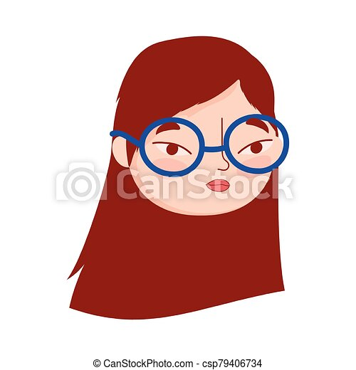 face young woman with glasses female character isolatd icon - csp79406734